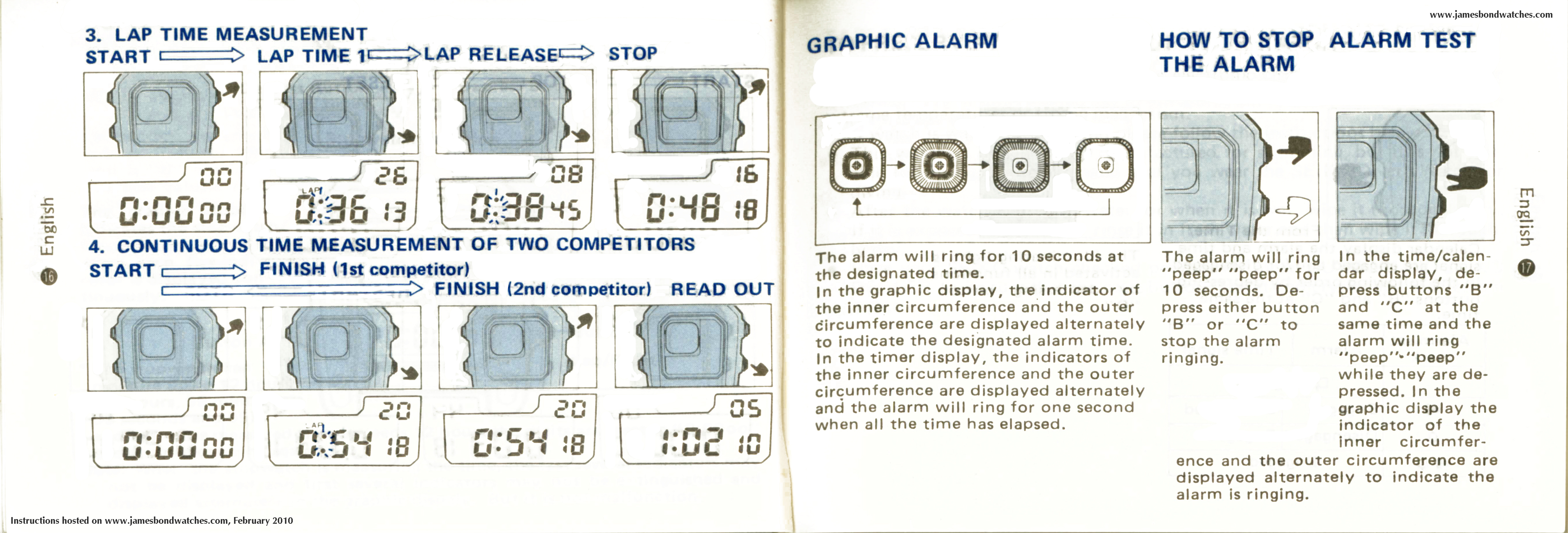 instructions for seiko chronograph alarm watch